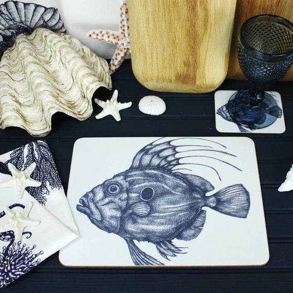 Blue And White John Dory Design Placemat/Coaster -Kitchen & Dining- Cream Cornwall