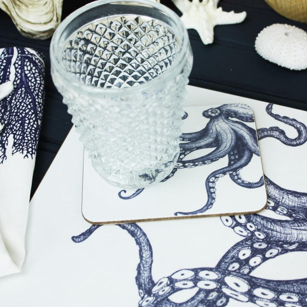 Blue And White Octopus Design Placemat/Coaster -Kitchen & Dining- Cream Cornwall