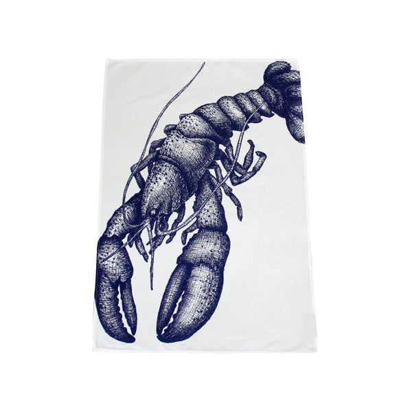 Blue And White Cotton Tea Towel With Lobster Design -Kitchen & Dining- Cream Cornwall