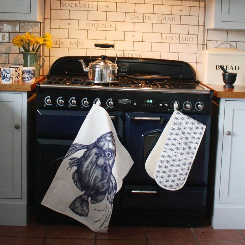 Blue And White Cotton Tea Towel With John Dory Design -Kitchen & Dining- Cream Cornwall