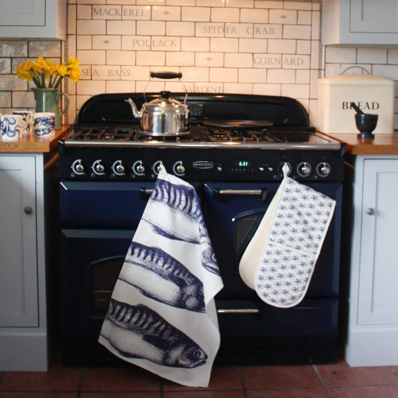 Blue And White Cotton Tea Towel With Mackerel Design -Kitchen & Dining- Cream Cornwall