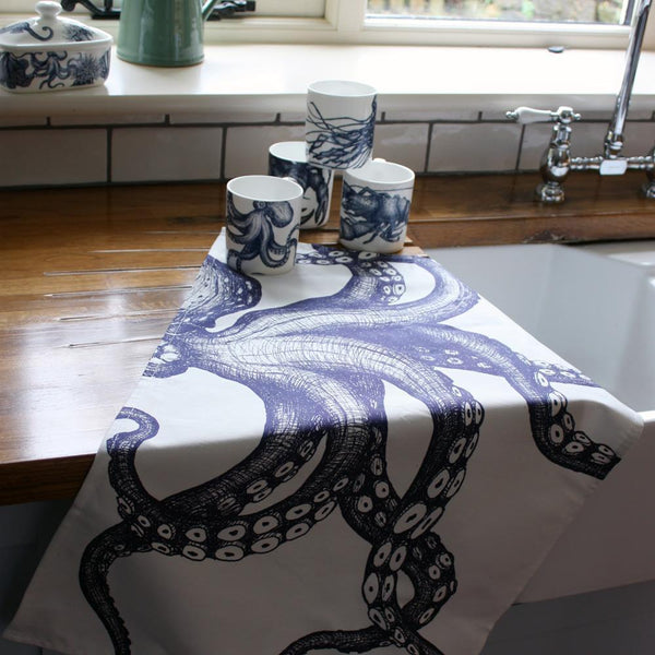 Blue And White Cotton Tea Towel With Octopus Design -Kitchen & Dining- Cream Cornwall