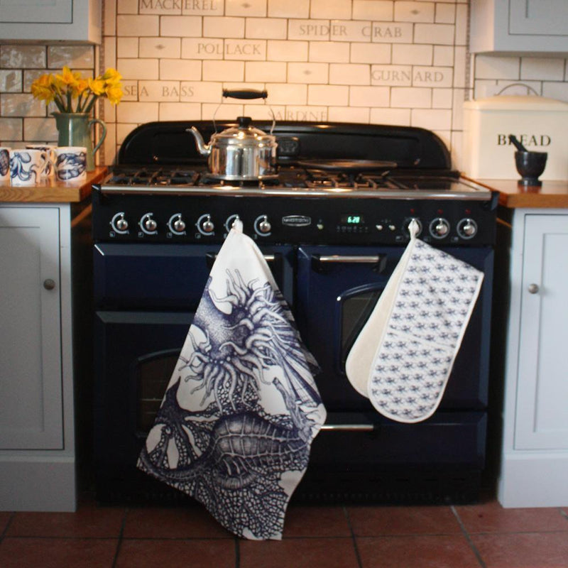 Blue And White Cotton Tea Towel With Seahorse Design -Kitchen & Dining- Cream Cornwall