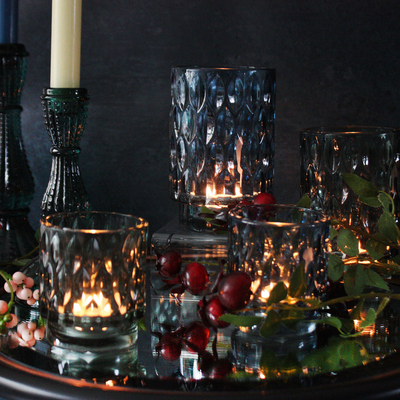 Textured Glass Tea Lights - Rich Green -Accessories- Cream Cornwall