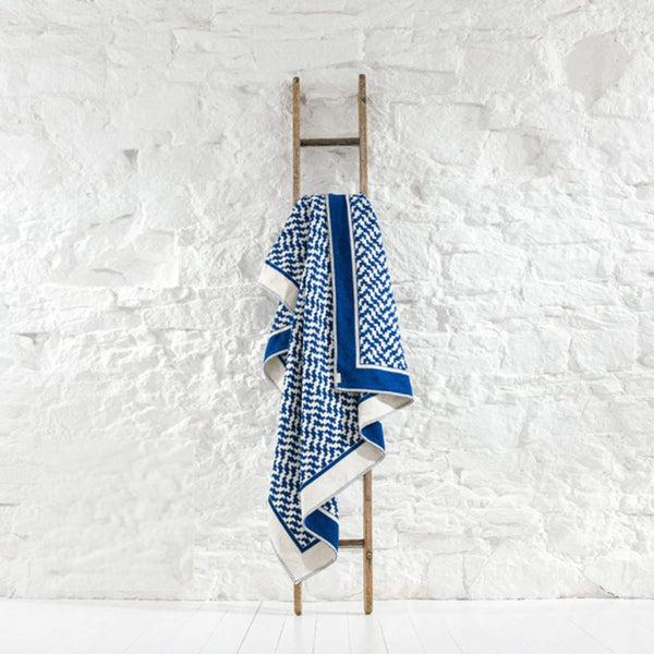 Tidal Recycled Reversible Cotton Throw In Cobalt Blue And Cream -Homeware- Cream Cornwall