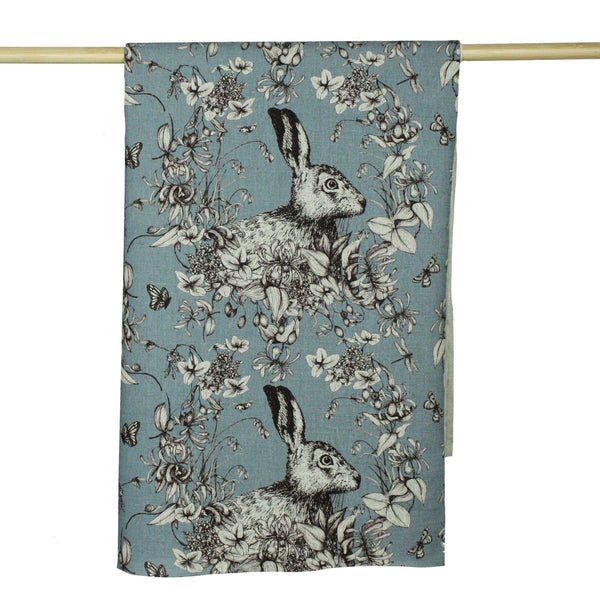 Organic Cotton/Linen Mix Fabric In Hare Design - Cool Tones -Homeware- Cream Cornwall