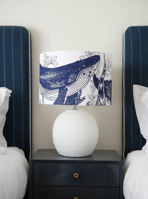 Marine Blue On White Whale Lampshade -Homeware- Cream Cornwall