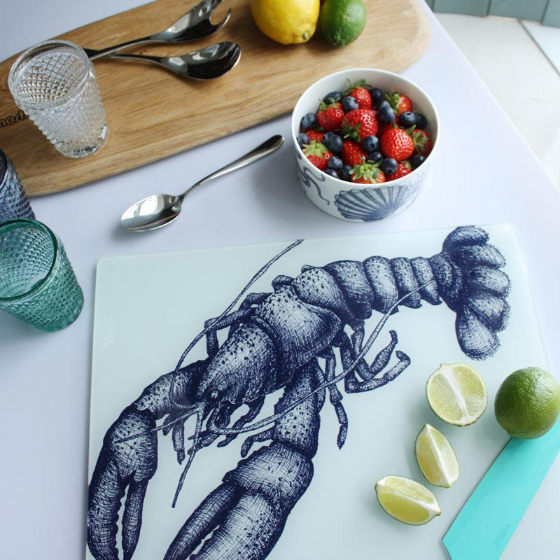 Blue And White Lobster Design Glass Worktop Saver -Kitchen & Dining- Cream Cornwall