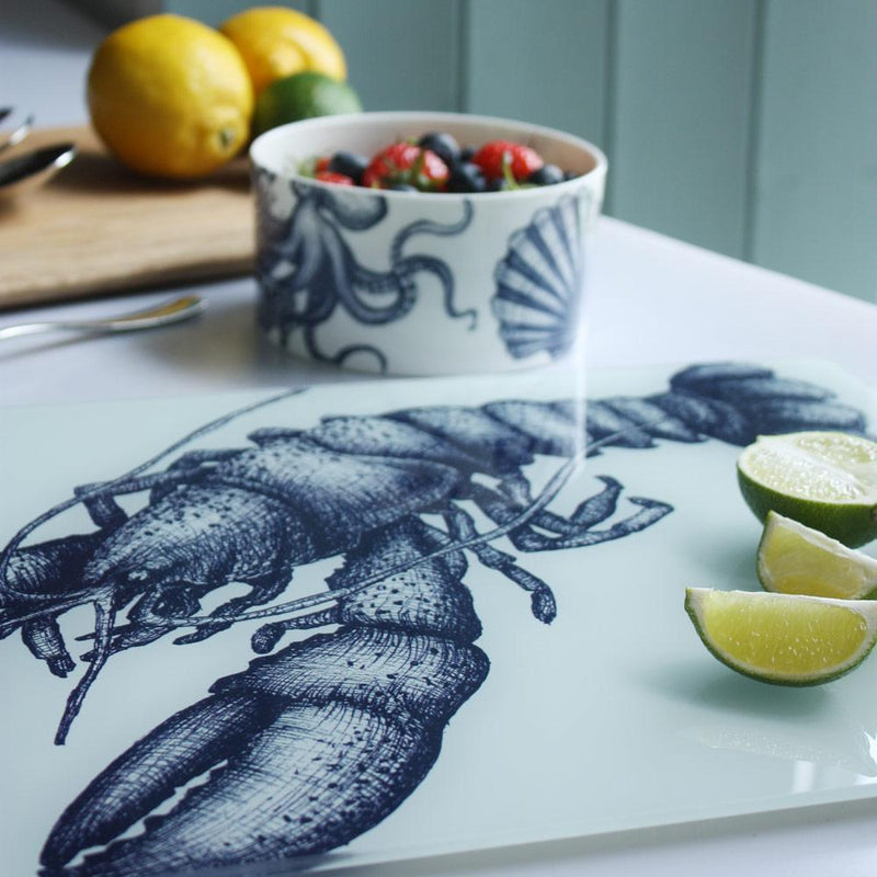 Blue And White Lobster Design Glass Worktop Saver - cream cornwall