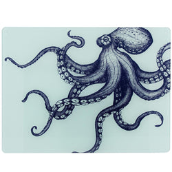 Blue And White Octopus Design Glass Worktop Saver -Kitchen & Dining- Cream Cornwall