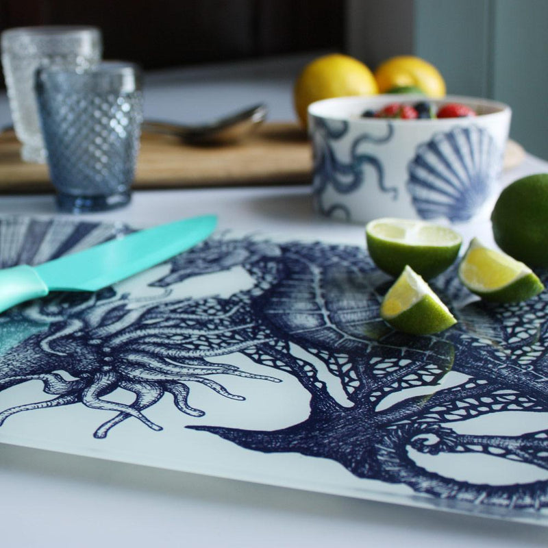 Blue And White Seahorse Design Glass Worktop Saver -Kitchen & Dining- Cream Cornwall