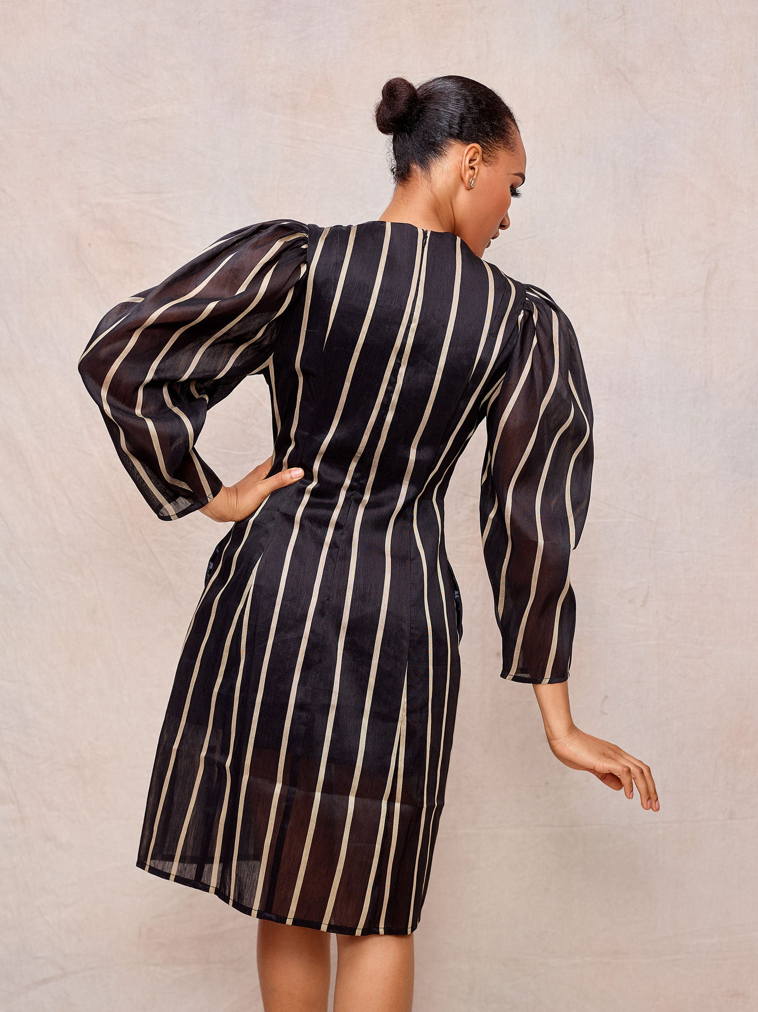 Long Sleeve Striped Linen Dress - April & Alex