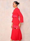 Red Evening Dress with Frill - April & Alex
