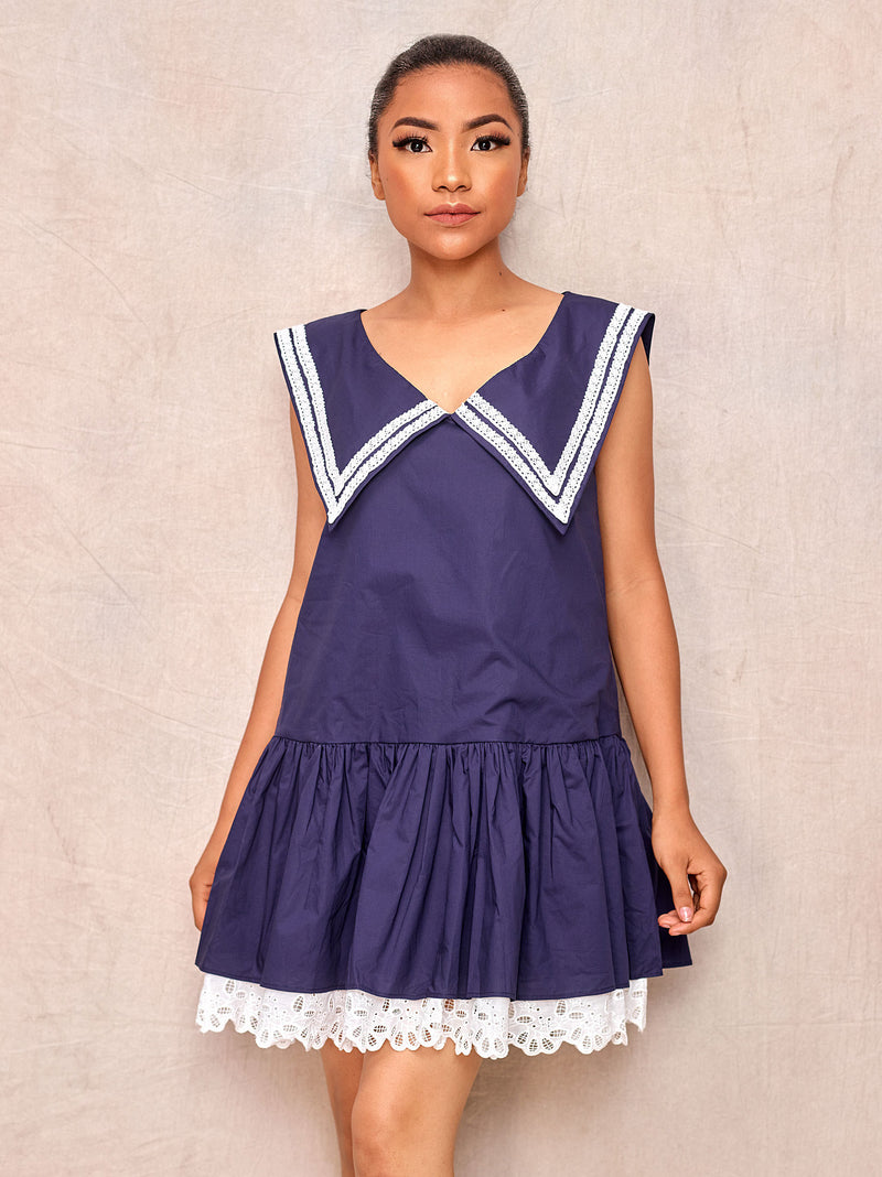 Navy Cute Sleeveless Mini Dress - April & Alex