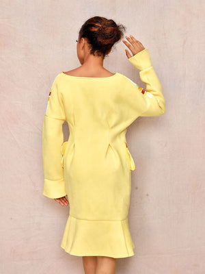 Long Sleeve Yellow Fishtail Dress - April & Alex
