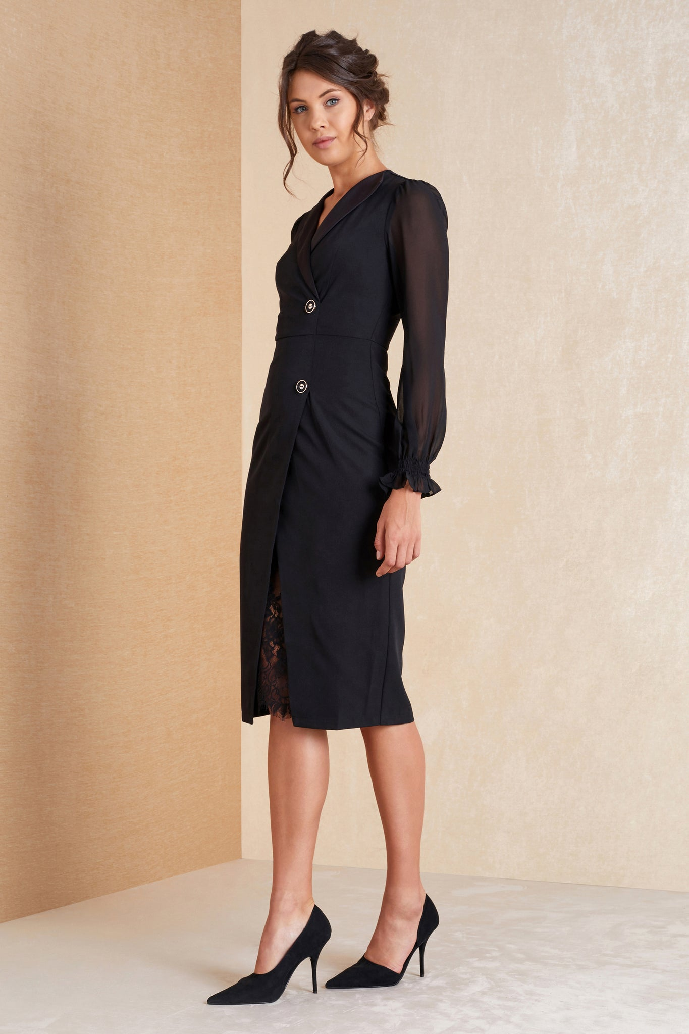 Black Long Sleeve Fitted Dress - April & Alex