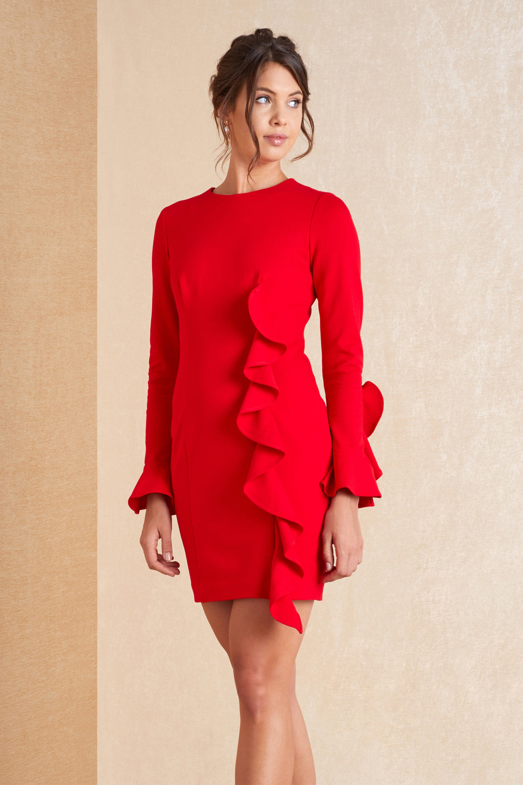 Long Sleeve Mini Frill Dress - April & Alex