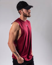 Burgundy colour low cut tank top/vest side view