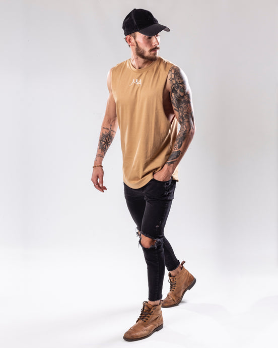 Sand colour low cut tank top/vest full body view