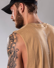 Sand colour low cut tank top/vest close up rear side view