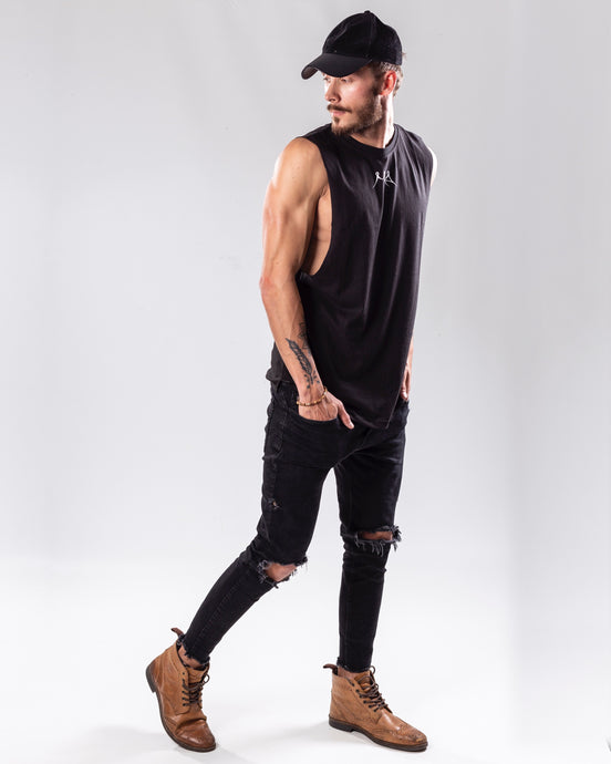 Black low cut tank top/vest full body view