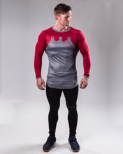 Red/grey Long sleeved compression top full body front view