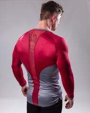 Red/grey Long sleeved compression top rear view