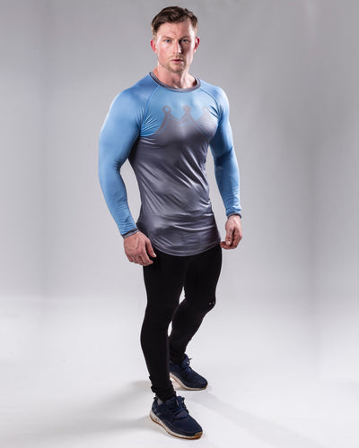 Grey/blue Long sleeved compression top full body view