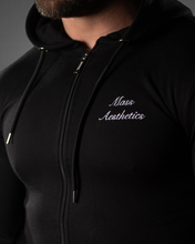 Unisex Bi Panel Zipped Hoodie - Black