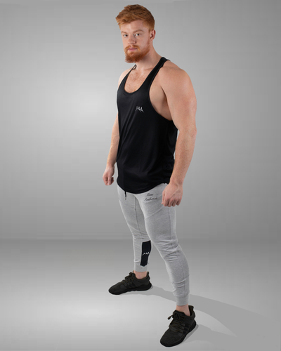 Black stylish stringer vest full body front view
