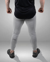 rear view of grey tapered fit joggers