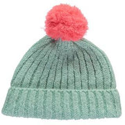 mohair mint green beanie with pink pom pom