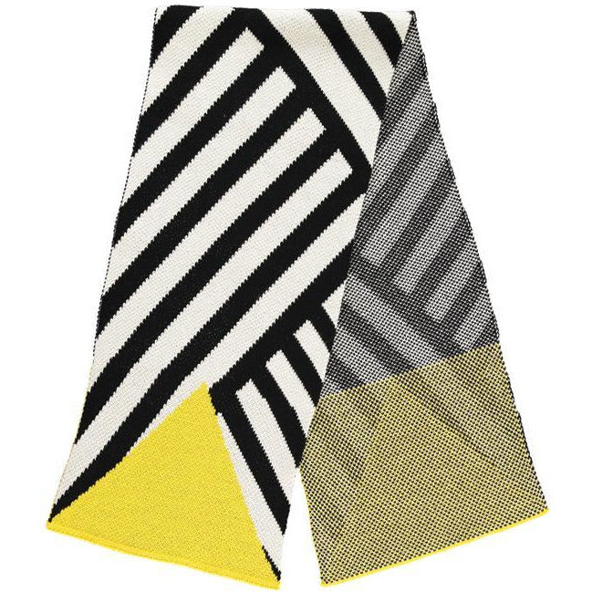 Long Soft Yellow & Black Winter Scarf
