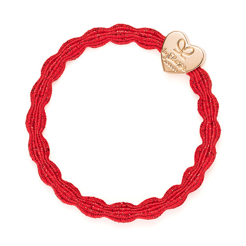 Red hairband with gold heart charm, Wear in your hair or on your wrist.