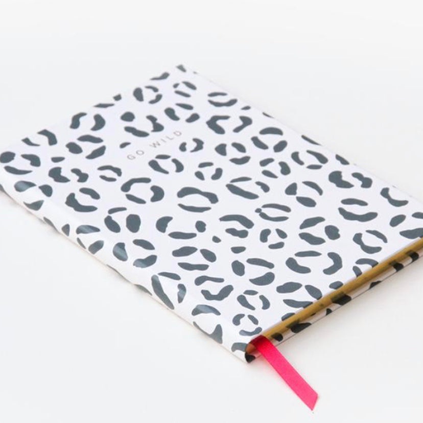 'Go Wild' Large Hard Cover Leopard Print Notebook