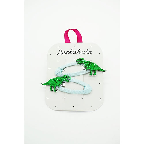 Green T-Rex. Dinosaur glitter hairclips by Rockahula.