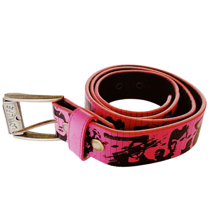 Pink Lowlife Pink Rock and Roll Graphic Leather Belt