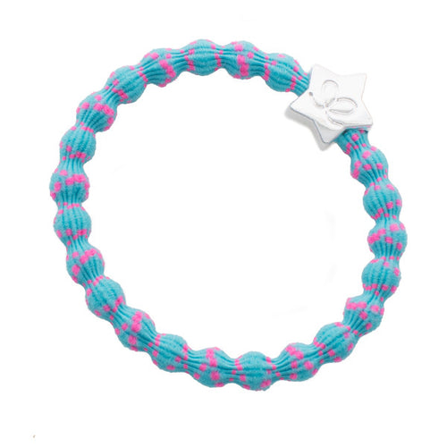 Neon blue and pink bubblegum hairband with silver star charm. Wear in hair or on wrist.