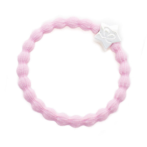 Soft pink hairband with silver star charm. Wear in hair or on wrist.