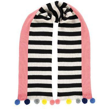 Supersoft Striped Pom Pom Scarf, Pink Accent