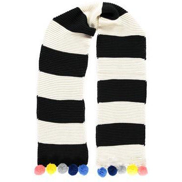 Supersoft Striped Pom Pom Scarf