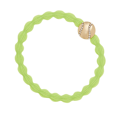 Neon yellow hairband with gold & sparkly tennis ball charm. Wear in your hair or on your wrist.