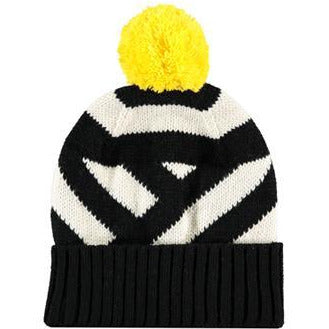 White & Black Striped Yellow Pom Pom Beanie