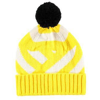 Yellow & White Striped Black Pom Pom Beanie