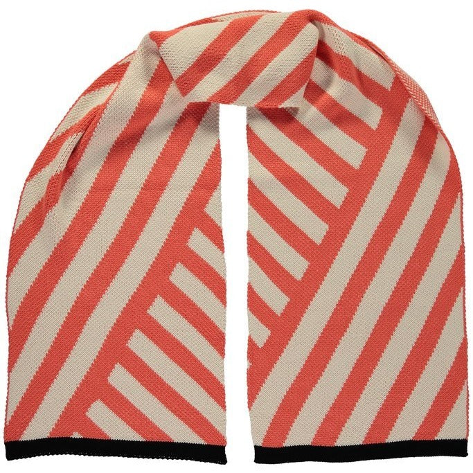 Long Diagonal Stripe Scarf Coral