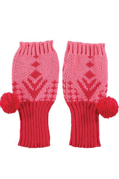 Pink & Red Fingerless Pom Pom gloves