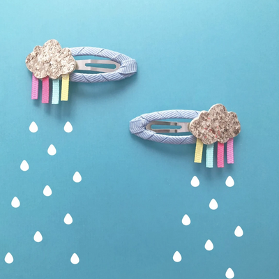 Rainbow Glitter Cloud Hair Clips