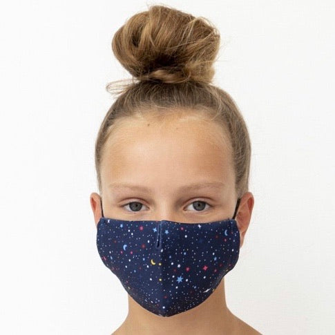 Child's Face Mask - Dark Blue Night Sky