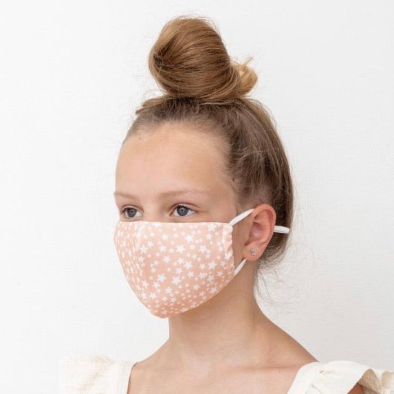 Child's Face Mask - Peach Pink Stars