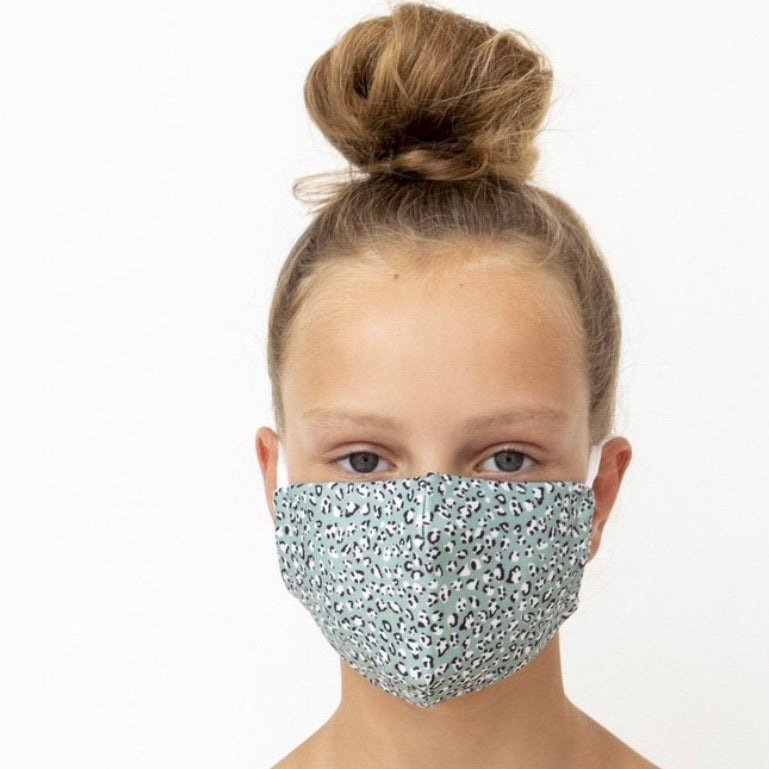 Child's Face Mask - Leopard Green Print